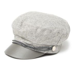 NEW VINCE CAMUTO Grey Faux Leather Herringbone Cap